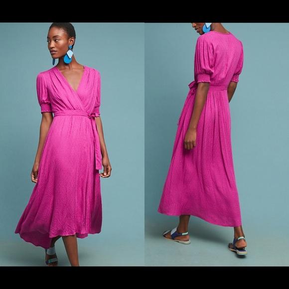 90578add25 Anthropologie Maeve  Breanna  Pink Wrap Dress